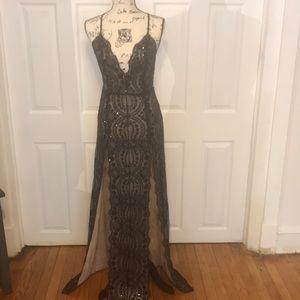 Gorgeous Sequins Black & Nude Dress